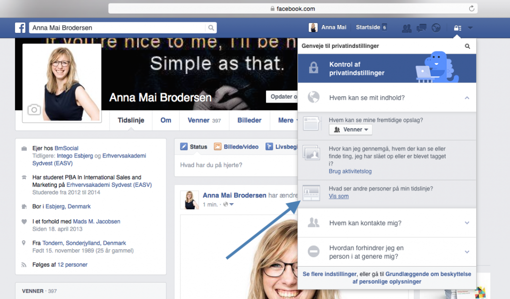 Facebookprofil som andre ser den